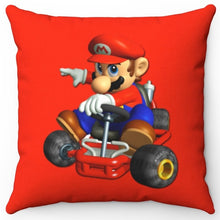 "Load image into Gallery viewer, Mario on Kart 18"" x 18"" Square Throw Pillow"