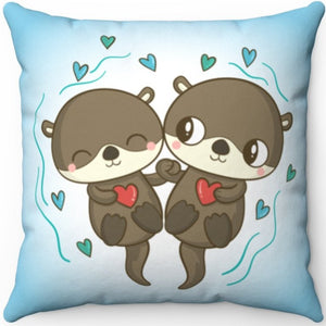 "Love Each Otter 16"" Or 18"" Square Throw Pillow"