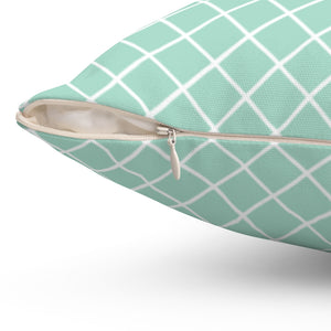 "Cross Pattern In Aquamarine 16"" Or 18"" Square Throw Pillow Cover"