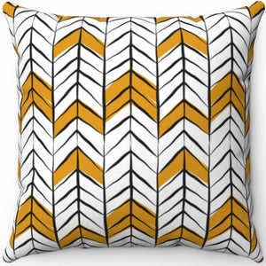 "Black White & Gold Boho Arrow Pattern 16"" 18"" Or 20"" Square Throw Pillow Cover"