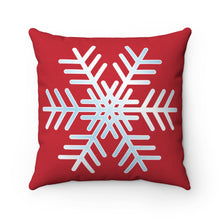 "Load image into Gallery viewer, Red & White Snowflake 18"" x 18"" Throw Pillow"