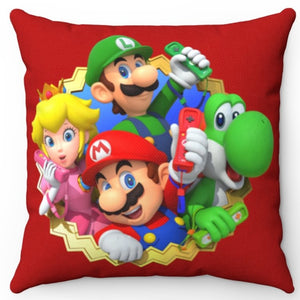 "Nintendo Wii Mario Luigi Princess Peach & Yoshi 18"" x 18"" Square Throw Pillow"