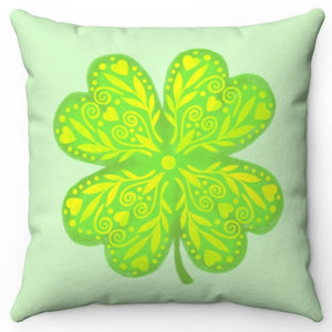 "Four Leaf Clover 18"" Or 20"" Square Throw Pillow Cover"