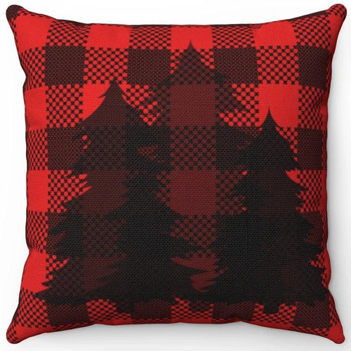 Silhouette Trees On Red & Black Plaid 16