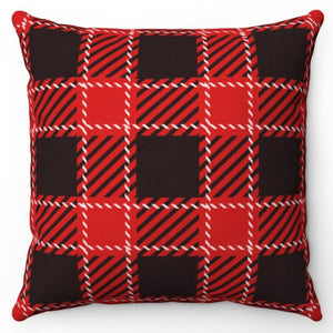 "White Stitch Buffalo Plaid 18"" Or 20"" Square Throw Pillow Cover"