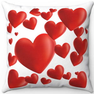"Hearts A Plenty Red & White 18"" x 18"" Throw Pillow Cover"