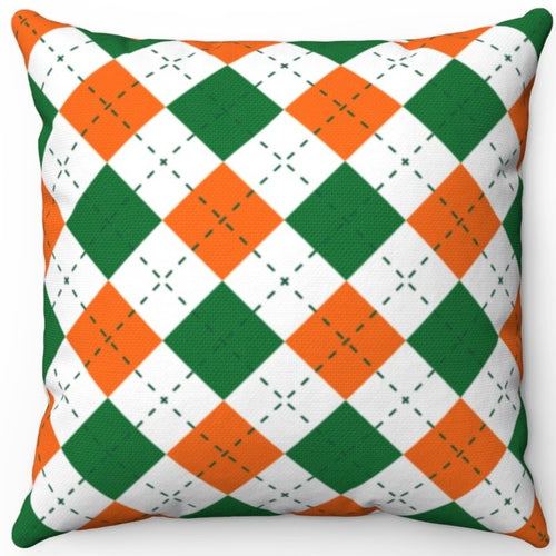 St. Patrick's Day Orange White & Green Argyle Pattern 16