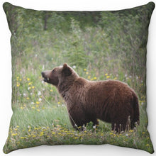 "Load image into Gallery viewer, Bear Munching Wildflowers 16"" Or 18"" Square Throw Pillow"