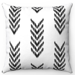 "Boho Scribble Arrow Black & White 18"" x 18"" Pillow Throw Cover"
