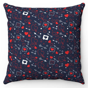 "Red Hearts & Arrows 18"" x 18"" Throw Pillow Cover"