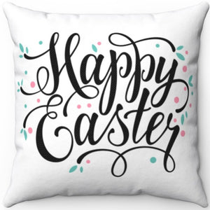 "Happy Easter 16"" Or 18"" Square Throw Pillow"