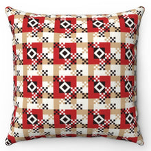 "Load image into Gallery viewer, Gold Red & Black Buffalo Pattern 18"" x 18"" Throw Pillow"