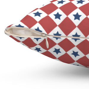 "Patriotic Red White & Blue Checkered 16"" 18"" Or 20"" Square Throw Pillow Cover"