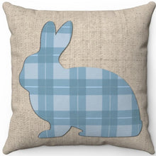 "Load image into Gallery viewer, Pastel Blue Plaid Easter Bunny 16"" Or 18"" Square Throw Pillow"