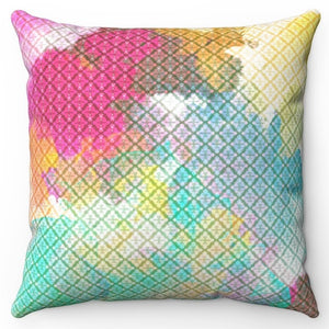 "Boho Battic Rainbow 20"" x 20"" Throw Pillow Cover"