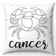 "Load image into Gallery viewer, Cancer Black & White Printed Design 16"" x 16"" Square Throw Pillow Cover"