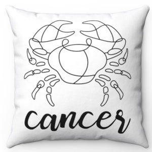 "Cancer Black & White Printed Design 16"" x 16"" Square Throw Pillow Cover"