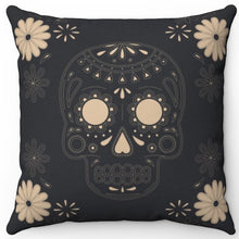 "Load image into Gallery viewer, Skull & Flowers On Slate 16"" Or 18"" Square Throw Pillow Cover"