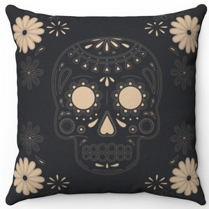"Skull & Flowers On Slate 16"" Or 18"" Square Throw Pillow Cover"