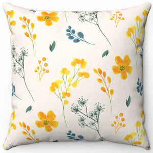 "Delicate Yellow Flowers 18"" x 18"" Throw Pillow Cover"