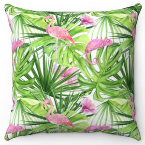 "Pink Flamingo And Chameleon 18"" Or 20"" Square Throw Pillow Cover"