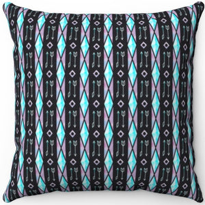 "Watercolor Boho Arrows And Stained Glass Pattern 16"" 18"" Or 20"" Square Throw Pillow Cover"