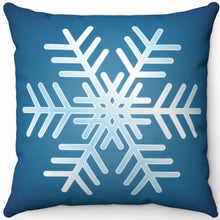 "Load image into Gallery viewer, Blue & White Snowflake 18"" x 18"" Throw Pillow"