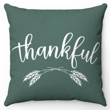 "Load image into Gallery viewer, Green & White Thankful 18"" Or 20"" Square Throw Pillow Covers"