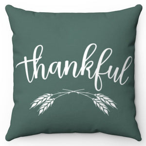 "Green & White Thankful 18"" Or 20"" Square Throw Pillow Covers"