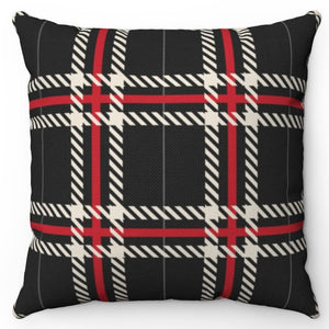 "Red & White Striped Buffalo Plaid 18"" Or 20"" Square Throw Pillow Cover"