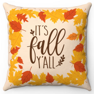 "It's Fall Y'All 18"" Or 20"" Square Throw Pillow Cover"