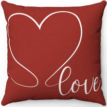 "Load image into Gallery viewer, Love Heart Red & White 18"" x 18"" Throw Pillow Cover"