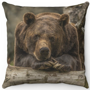 "Gentle Giant Grizzly Bear 16"" Or 18"" Square Throw Pillow"
