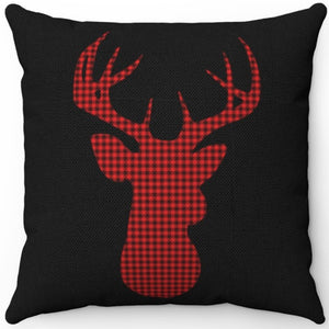 "Deer Head Silhouette #Fourteen 16"" 18"" Or 20"" Square Throw Pillow Cover"