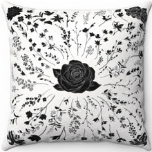 "Load image into Gallery viewer, Centered Rose Black & White 18"" x 18"" Throw Pillow Cover"