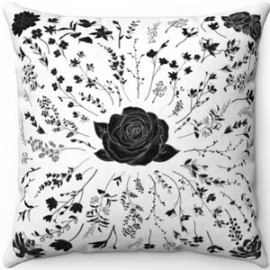 "Centered Rose Black & White 18"" x 18"" Throw Pillow Cover"