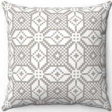 "Load image into Gallery viewer, Delicate Grey & White Geometric Pattern #Eleven 18"" x 18"" Square Throw Pillow"
