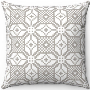 "Delicate Grey & White Geometric Pattern #Eleven 18"" x 18"" Square Throw Pillow"