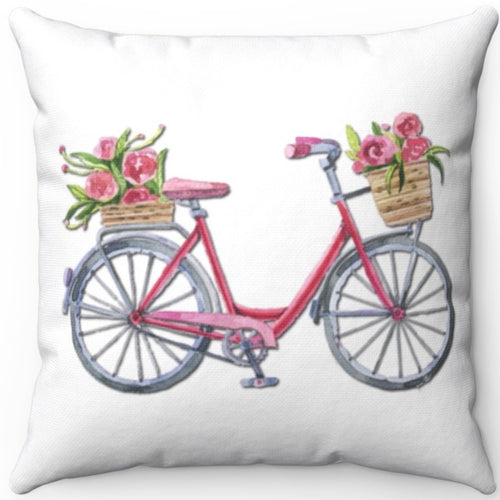 Vintage Bicycle & Spring Market Flowers On White 18