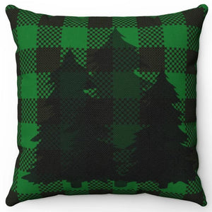 "Silhouette Trees On Green & Black Plaid 16"" Or 18"" Square Throw Pillow"