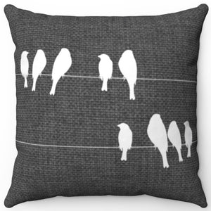 "White Birds On A Wire 16"" 18"" Or 20"" Square Throw Pillow Cover"