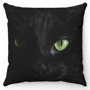 "Black As Coal Green Eyed Cat 18"" x 18"" Throw Pillow Cover"