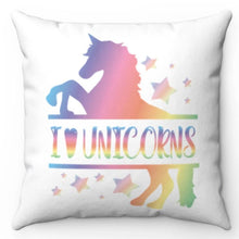 "Load image into Gallery viewer, I Love Unicorns 18"" x 18"" Throw Pillow Cover"
