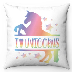 "I Love Unicorns 18"" x 18"" Throw Pillow Cover"