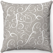"Load image into Gallery viewer, Delicate Grey & White Filigree Pattern #Nine 18"" x 18"" Square Throw Pillow"