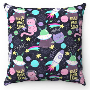 "Cats Need More Space 18"" x 18"" Throw Pillow"