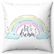 "Load image into Gallery viewer, Let's Dream In White 16"" x 16"" Square Throw Pillow"