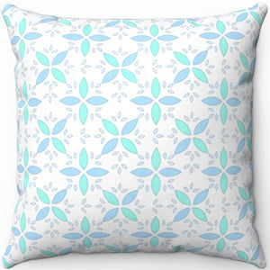 "Pastel Blue & Green Floral Pattern 18"" x 18"" Square Throw Pillow"