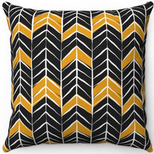 "Load image into Gallery viewer, Black White & Gold Dark Boho Arrow Pattern 16"" 18"" Or 20"" Square Throw Pillow Cover"