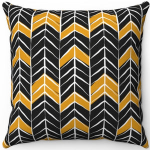"Black White & Gold Dark Boho Arrow Pattern 16"" 18"" Or 20"" Square Throw Pillow Cover"